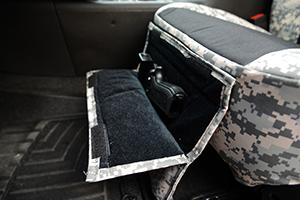 custom seat covers pistol pocket